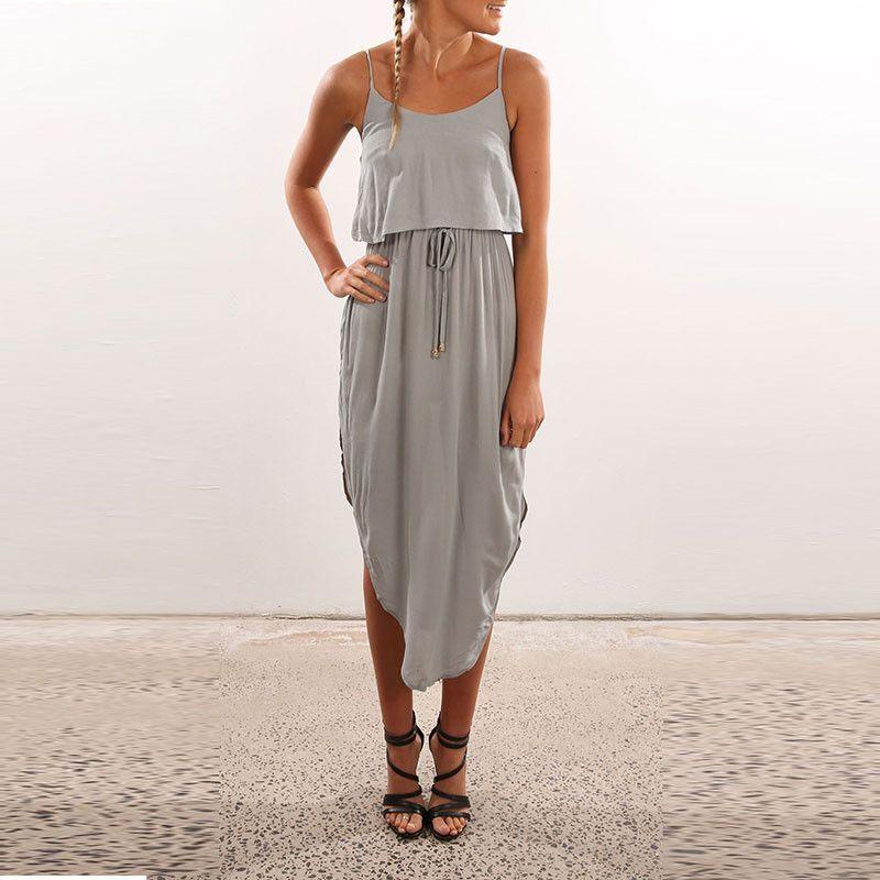 HEE GRAND Summer Beach Long Dress Sexy Spaghetti Strap Solid Dress Women  Off Back Sashes Cute 76017d562b7b