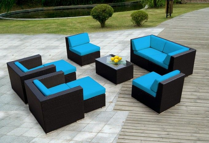 Luxury resin wicker patio furniture sets with blue wicker patio furniture  cushions - Luxury Resin Wicker Patio Furniture Sets With Blue Wicker Patio