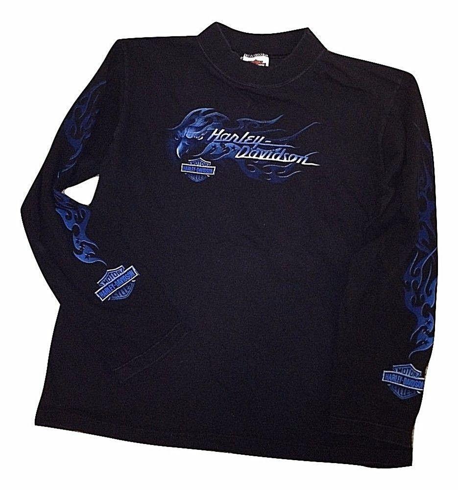 Details About Harley Davidson T Shirt Long Sleeve Motorcycle Biker Mens Xl Harley Davidson T Shirts Long Sleeve Shirts Blue Flames