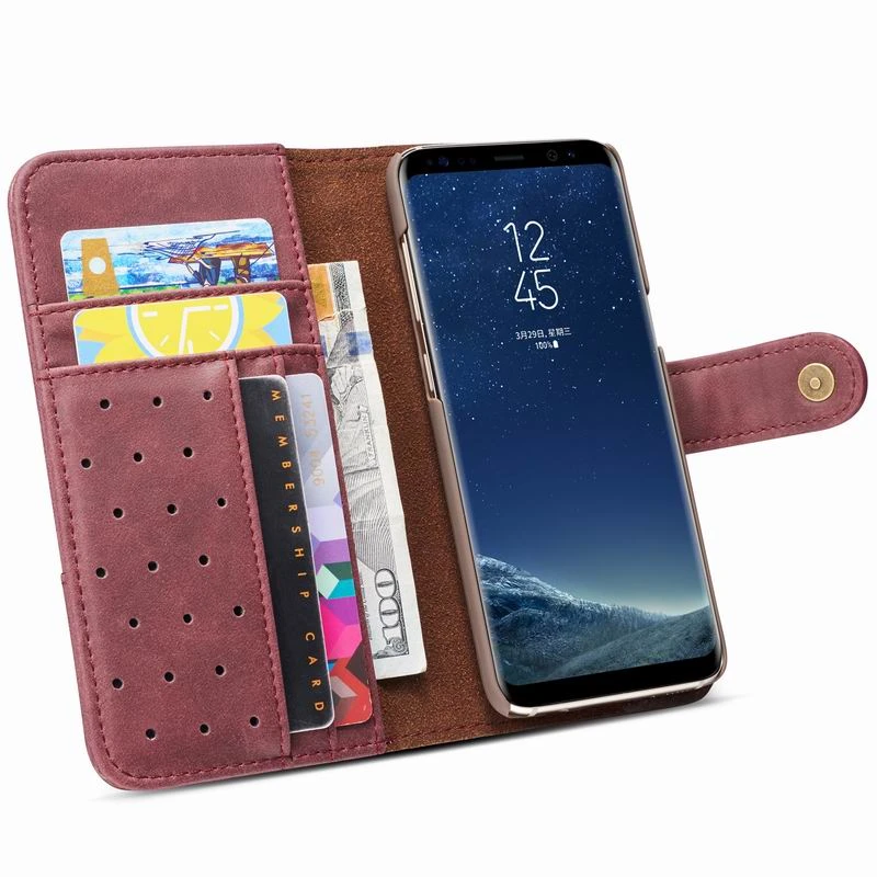 Raxfly Leather Flip Wallet Case For Samsung Galaxy A30, A40, A50, A70, S6, S6 Edge, S7, S7 Edge, S8, S8 Plus, S9, S9 Plus, S10, S10E, S10 Plus, S10 5G, Note 8, Note 9, Note 10, Note 10 Plus