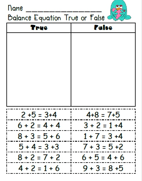 Modified example using True/False strategy. First grade