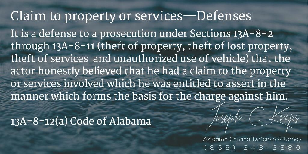 13A812(a) Code of Alabama Claim to property or