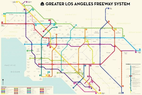 Los Angeles Subway Map New.Map Of The Day L A S Freeways Reimagined As A Subway Design