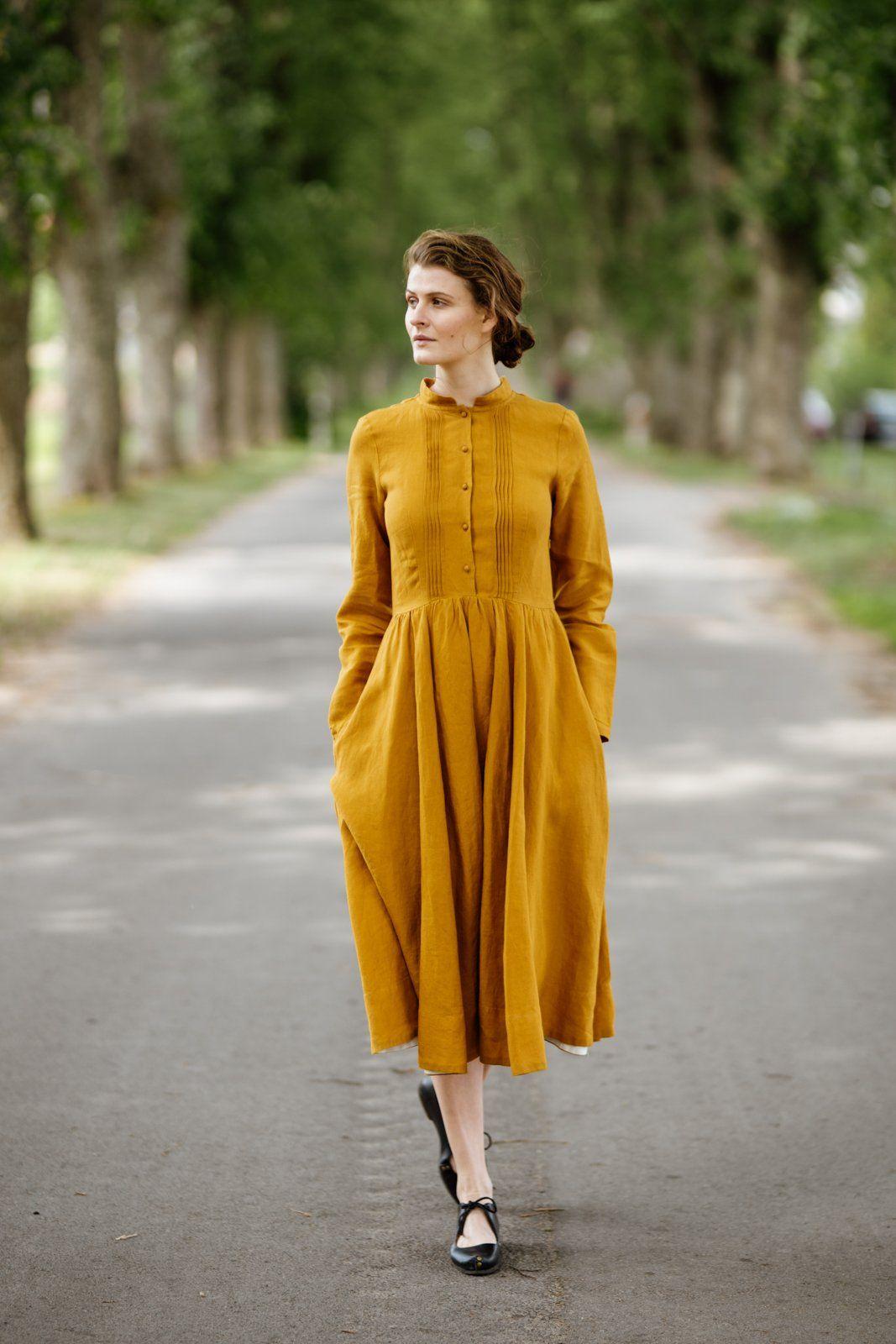Mustard Linen Dress with Mandarin Collar Linen dress
