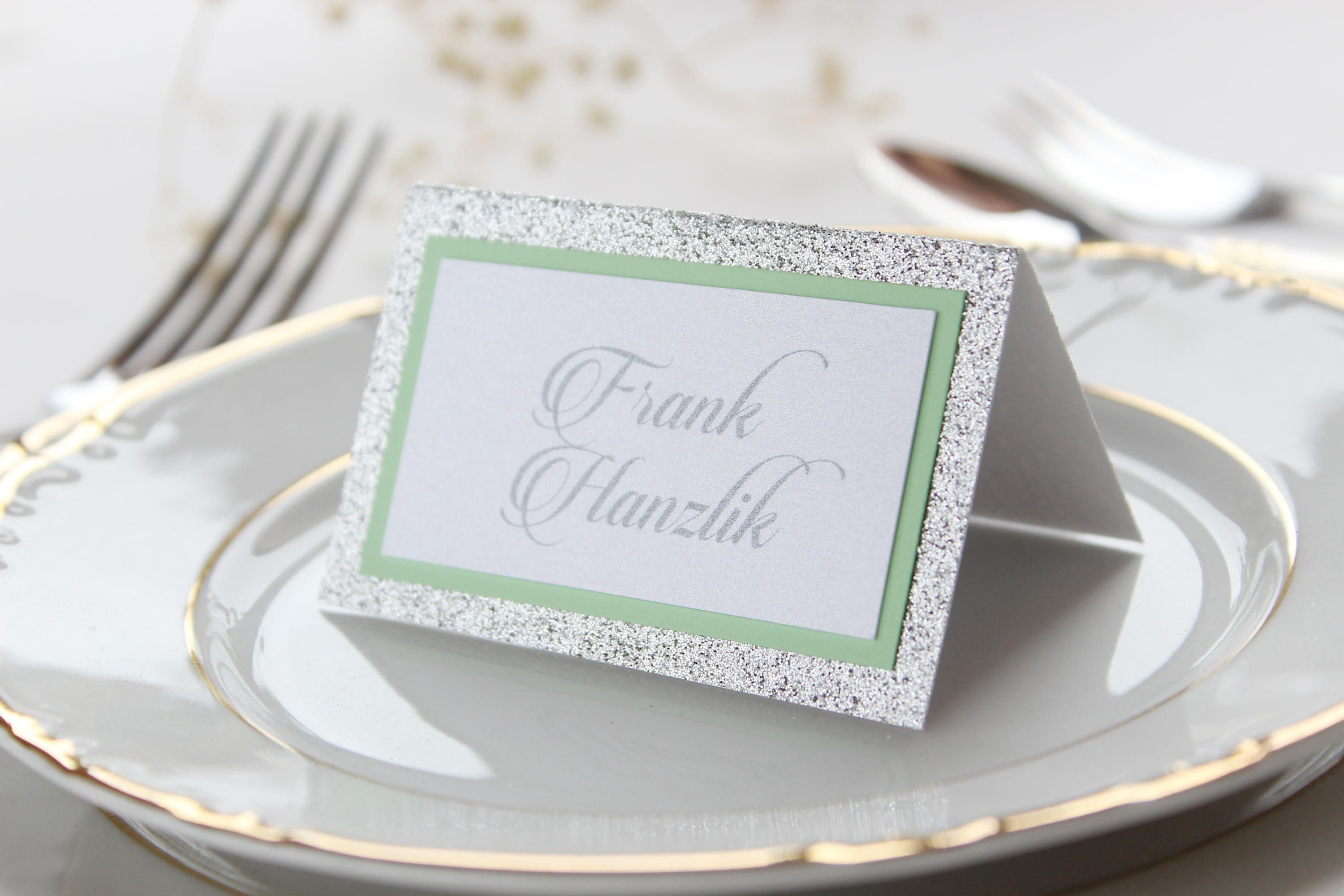 Silver Place Cards, Glitter Place Cards, Silver and Mint Place Cards ...