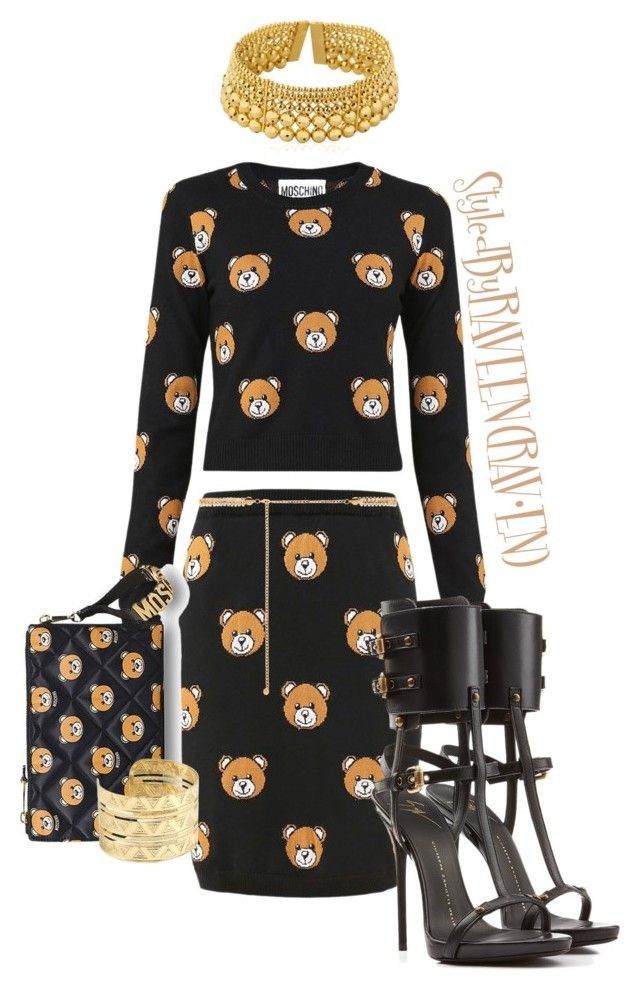 """BUILD A BEAR"" by raveenz ❤ liked on Polyvore featuring Moschino, Giuseppe Zanotti, Paula Mendoza and Forever New"