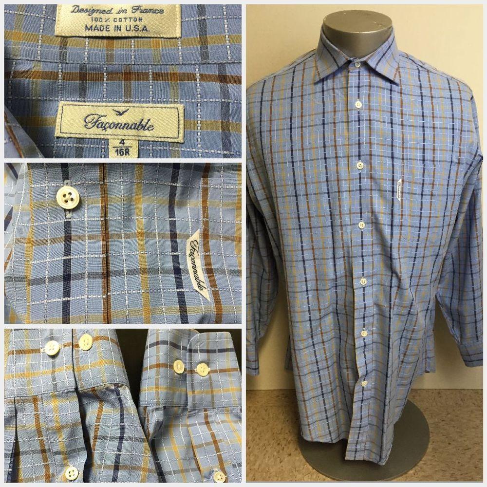 Green checkered dress shirt  MENuS FACCONABLE PLAID CHECKERED LONG SLEEVE DRESS SHIRT R LARGE L