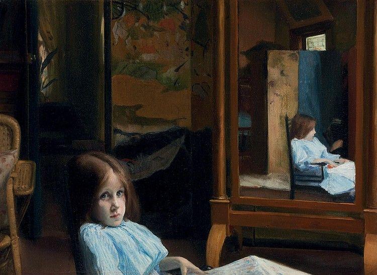 Fillette (Lucie Esnault au psyché), Jacques Emile Blanche. French (1861 - 1942)