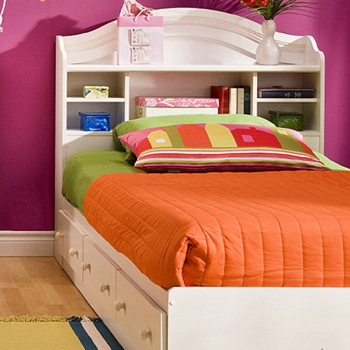 South Shore Summer Breeze Twin Mates Bed & Bookcase Headboard ...