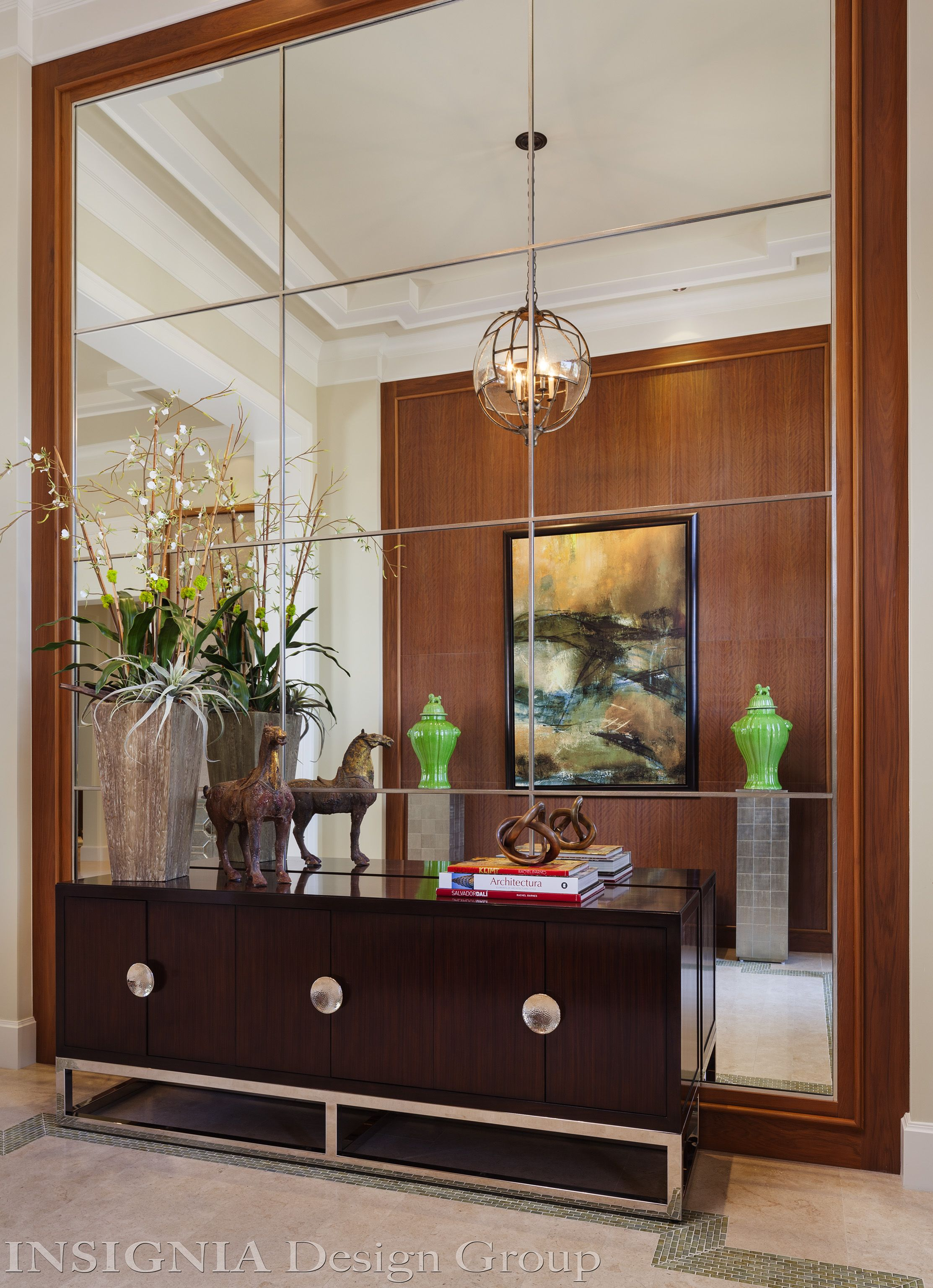 mirror wall opposite a wood panel wall for foyer walk in on ideas for decorating entryway contemporary wall mirrors id=96353