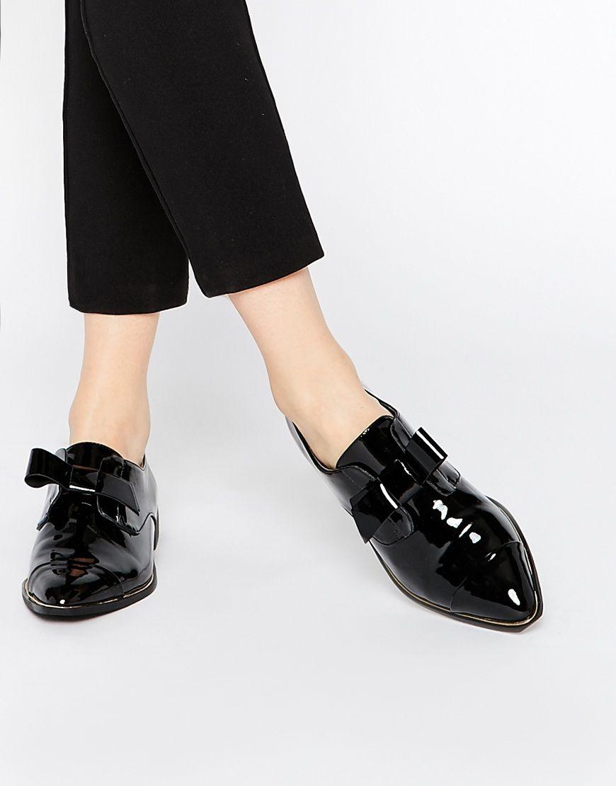 ALDO Gazoldo Black Patent Flat Shoes at asos.com