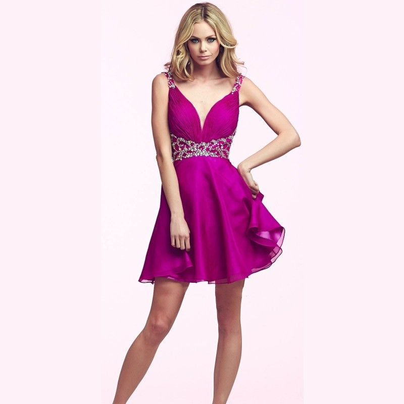 2015 New Stylish A Line Fuchsia Homecoming Dresses Short Semi ...