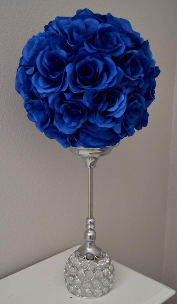 ROYAL BLUE flower ball, Wedding CENTERPIECE, Wedding Decor wedding ...
