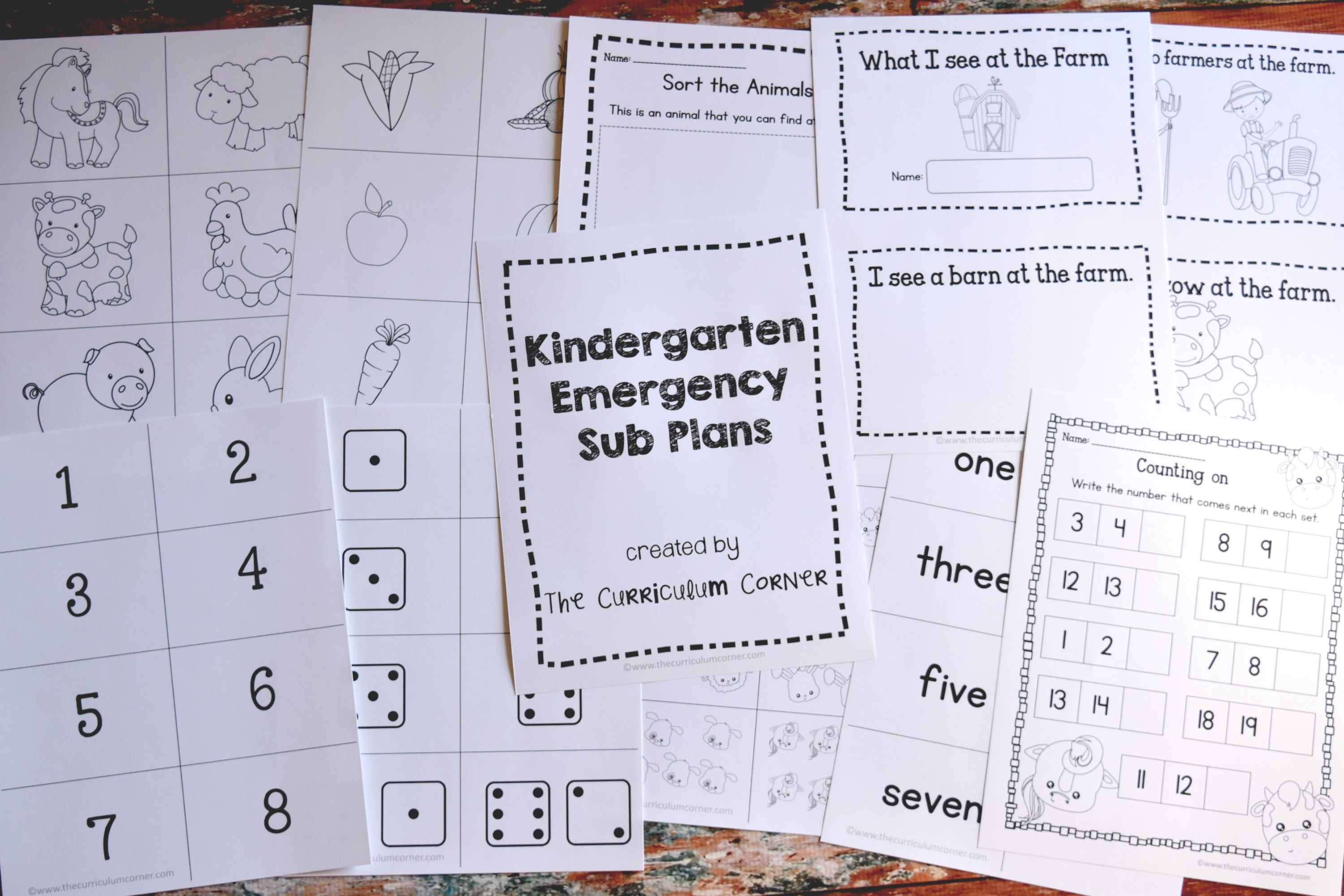 Free Kindergarten Emergency Sub Plans