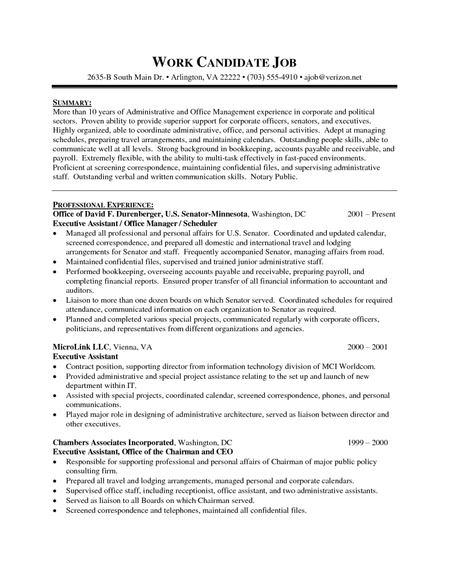 executive administrative assistant resume sample 1 sample resume template - Administrative Assistant Duties Resume Sample