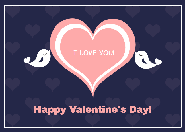 This Bird Kiss Valentine S Day Card Template Is Centered With A Pink Heart And Two Kissing Birds The Valentines Day Card Templates Cards Happy Valentines Day