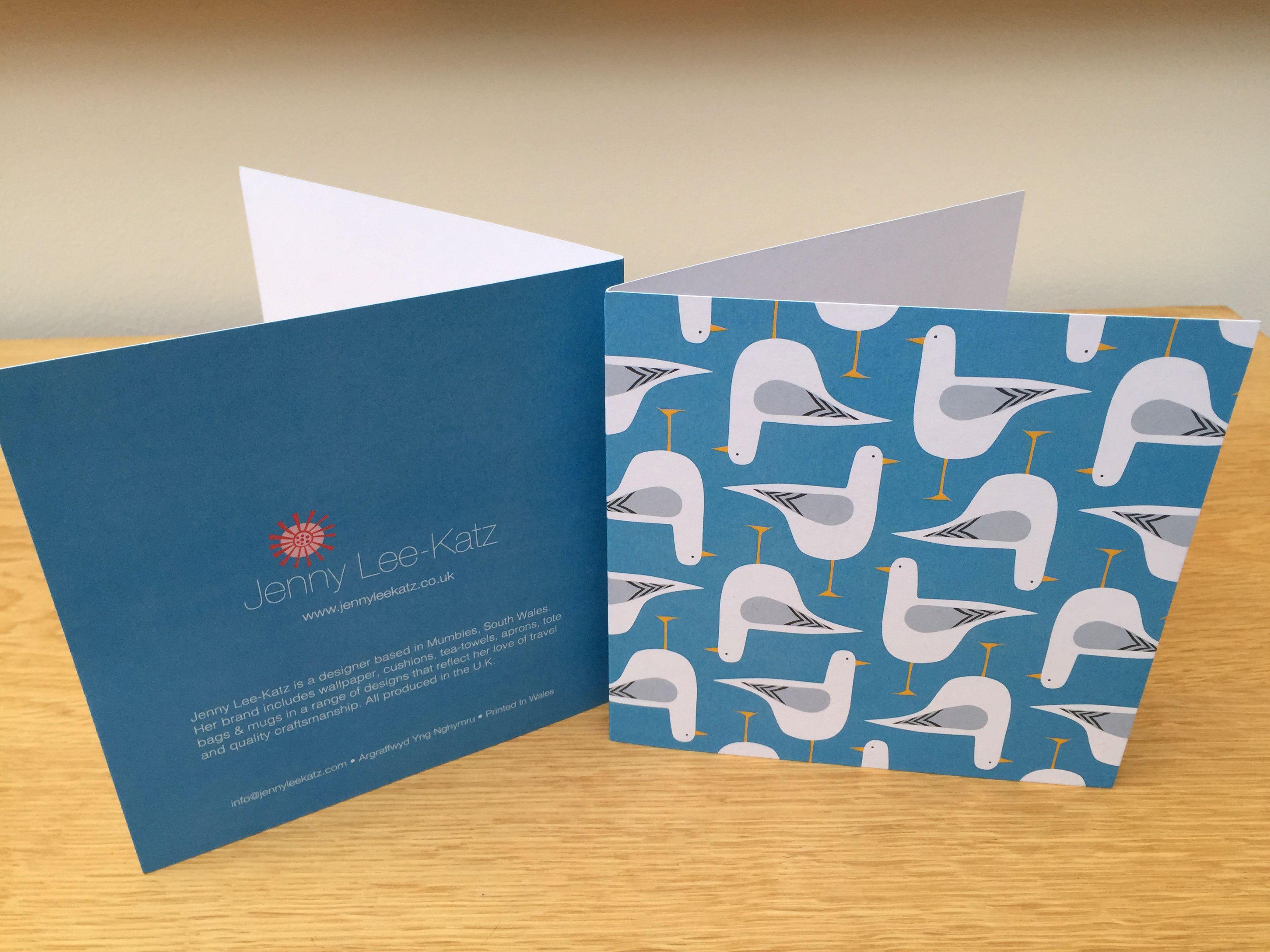 Seagull Design Greeting Card Printed In Wales Seagull Coastal