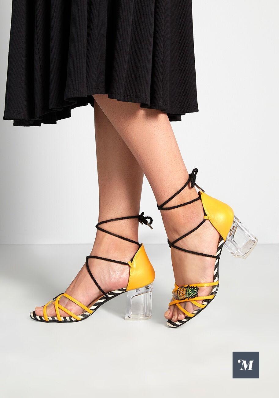 Fun Assertion Block Heel Sandal In 2020 Sandals Heels Block Heels Sandal Yellow Sandals