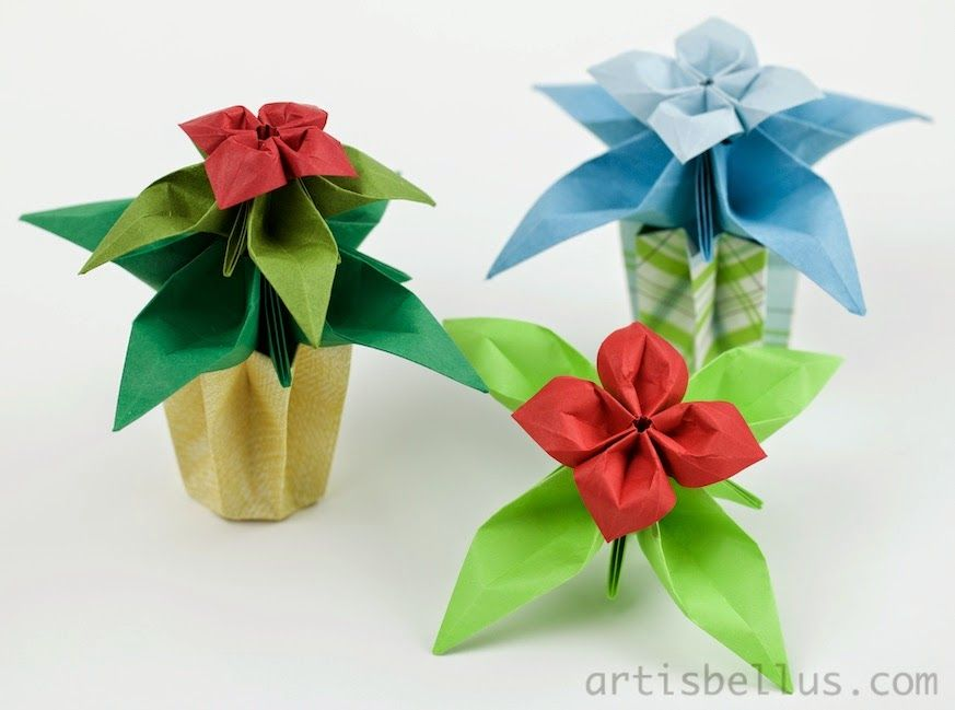 Origami Flowers: Columbines