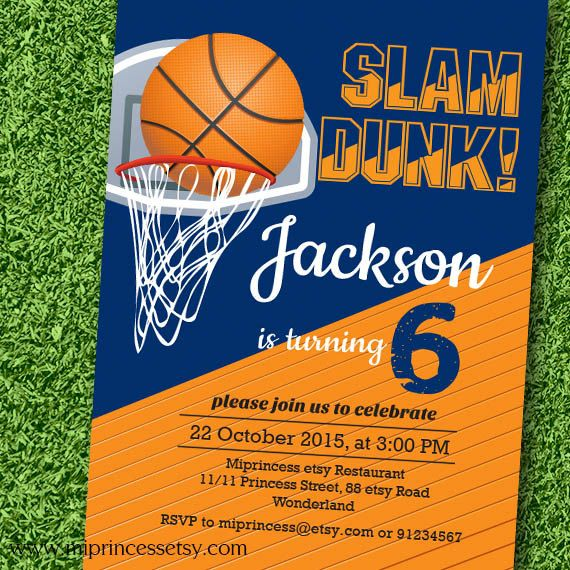 Basketball Invitation Boy Birthday Party Sports Day Basketball