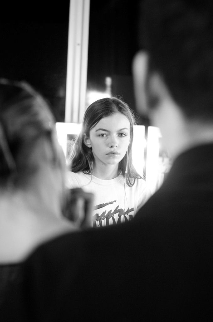 Backstage at Bora Aksu London Fashion Week show. Image by Jeff Boudreau