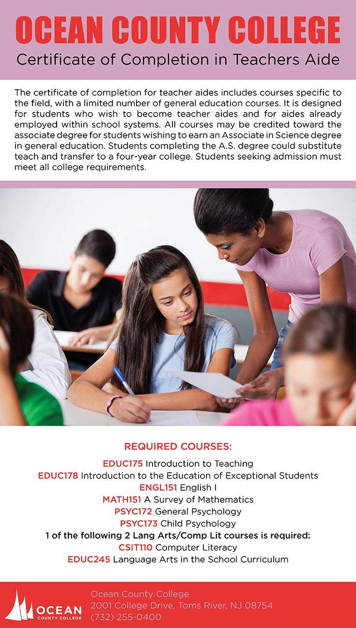 The certificate of completion for teacher aides includes courses ...