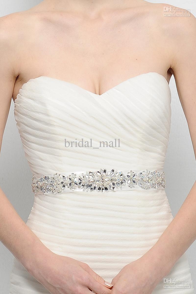 Clear crystal beaded sash wedding dress belt wedding accessory ...