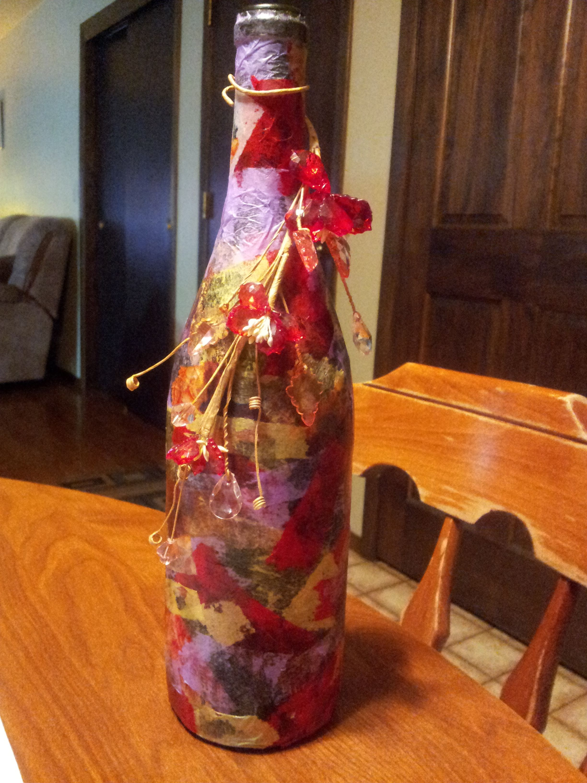 Wine Bottle Decoupaged With Tissue Paper Wine Bottle Crafts Bottles Decoration Wine Bottle Art