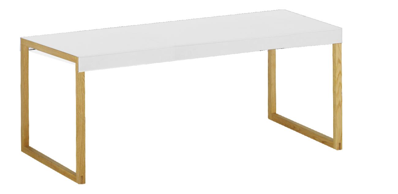 Objet Deco Laque Blanc kilo table basse en acier laqué blanc et pieds en chêne