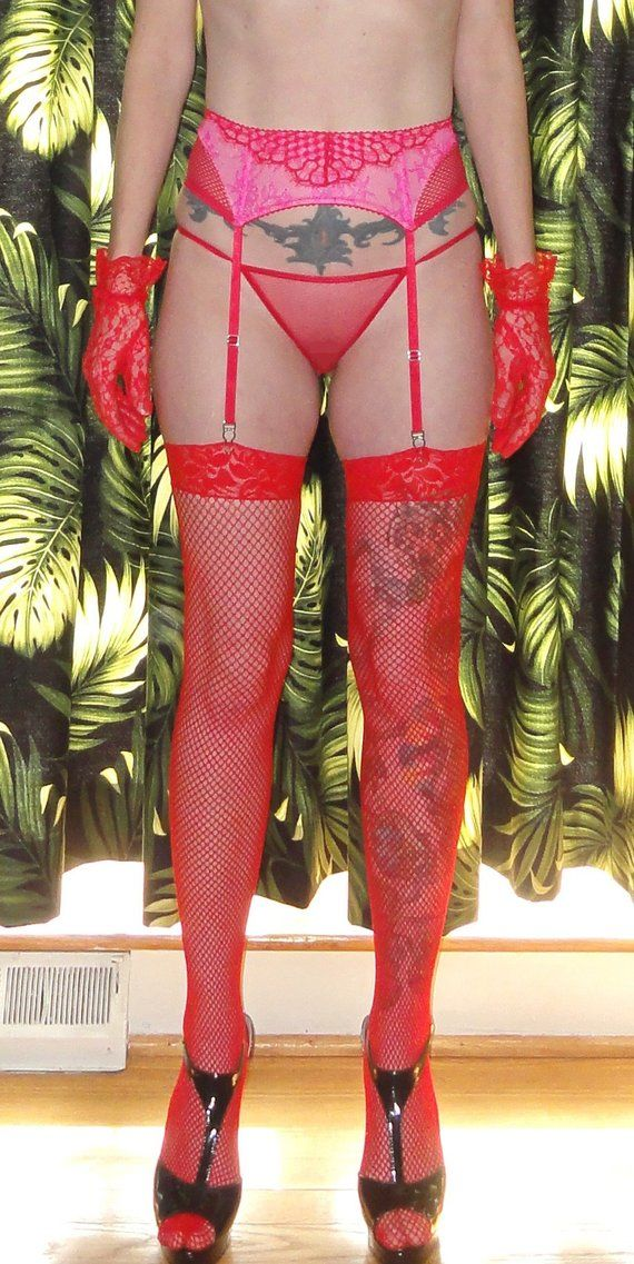458ad02ea0ef4 Vintage Victoria's Secret Red Lace Garter Belt Thong & Stocking Set S retro  burlesque Pin Up mid cen