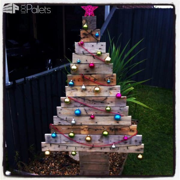 40 Ideas Of Christmas Tree U0026 Decorations Made Out Of Repurposed Pallets Fun  Pallet Crafts For
