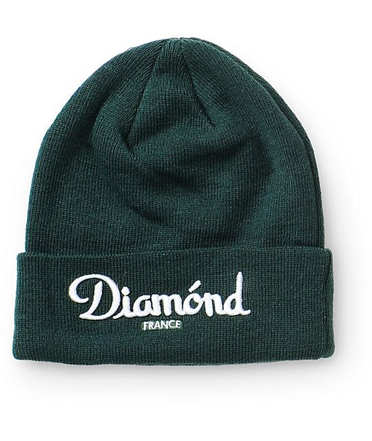 """Easily add some color to your outfits with a fresh dark green colorway that showcases a raised white """"Diamond France"""" embroidery on the fold over cuff."""