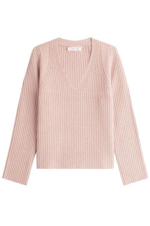 HELMUT LANG Wool-Cashmere Ribbed Pullover. #helmutlang #cloth #v-neck