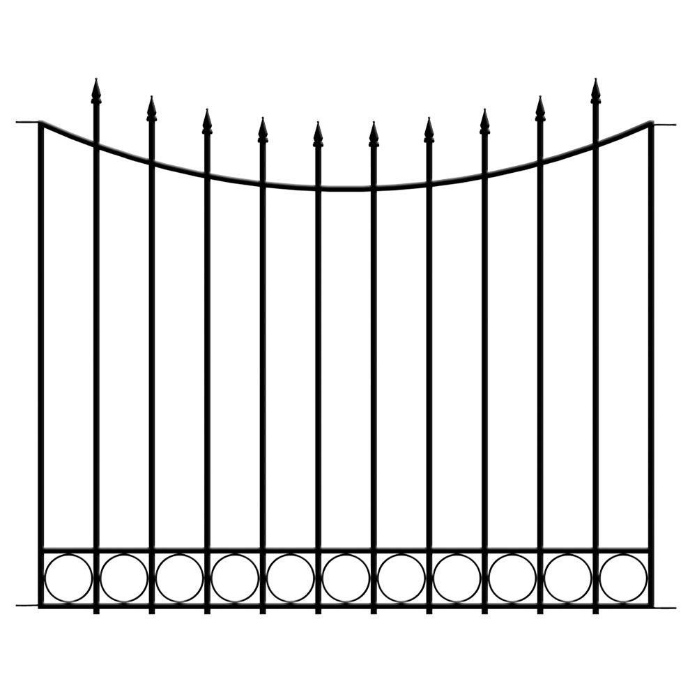 Vigoro Beaumont 40 4 In H X 49 6 In W Black Steel 3 Rail Fence Panel 860121 The Home Depot Fence Panels Fence Gate Steel Fence