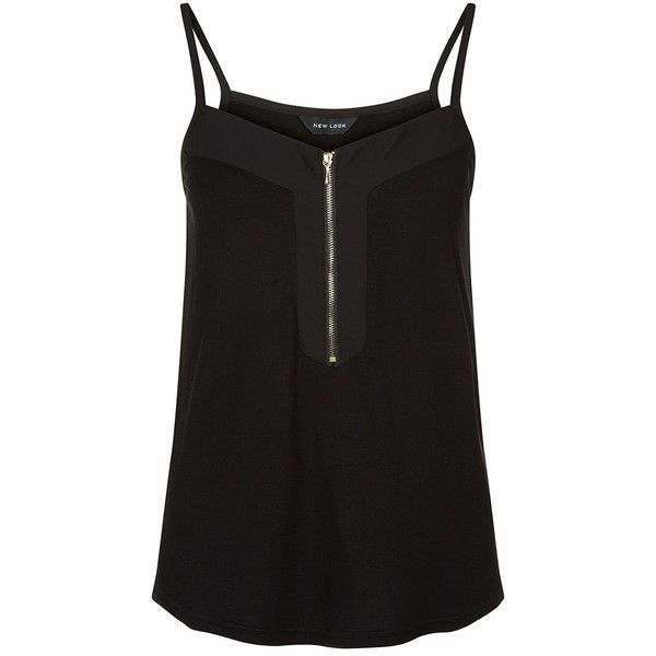Black Zip Front Cami (€6,89) ❤ liked on Polyvore featuring tops, black, camisole tank, mini cami, camisoles & tank tops, black top and black cami