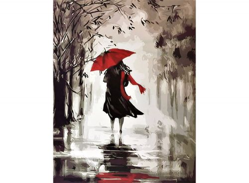 Картина по номерам «Под красным зонтиком» | Картины ...