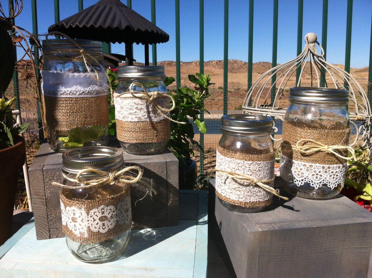 Vintage style wedding decoration ideas  Decorations  BURLAP LACE MASON Jars for Wedding and Cottage Decor