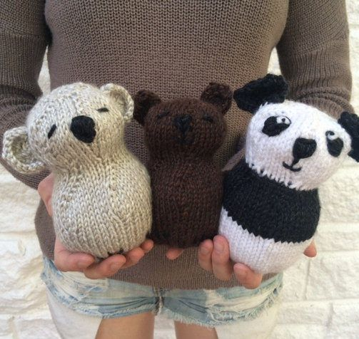 Knitting Pattern For 3 Little Bear Toys These Quick Bear Toys Are