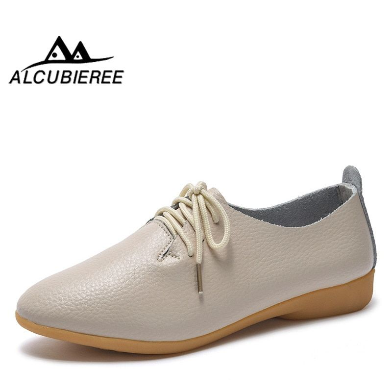 2018 New Women Shoes Genuine Leather Women s Shoe Lace-Up Female Flats  Pointed Toe Woman e919807830c