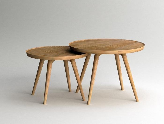 Set De 2 Tables Basses Rondes Gigogne Hauteur 40 Cm Et 35 Cm Table Basse Table Basse Ronde Table Basse Gigogne