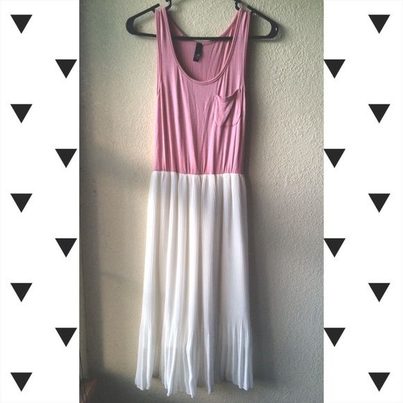 """summer pink dress baby pink dress with pleated flowy skirt. has a pocket on chest and a slip under the skirt. size small. 44"""" long from top to bottom.  waist is 11"""" wide,  skirt is 27"""" long. ⚡️offers no trades⚡️ Urban Outfitters Dresses Maxi"""