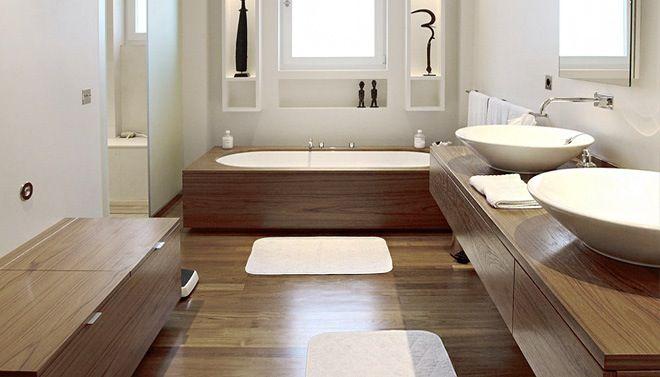 Bad houten omkadering donker bruin wit badkamer pinterest bathroom met and woods - Badkamer donker ...