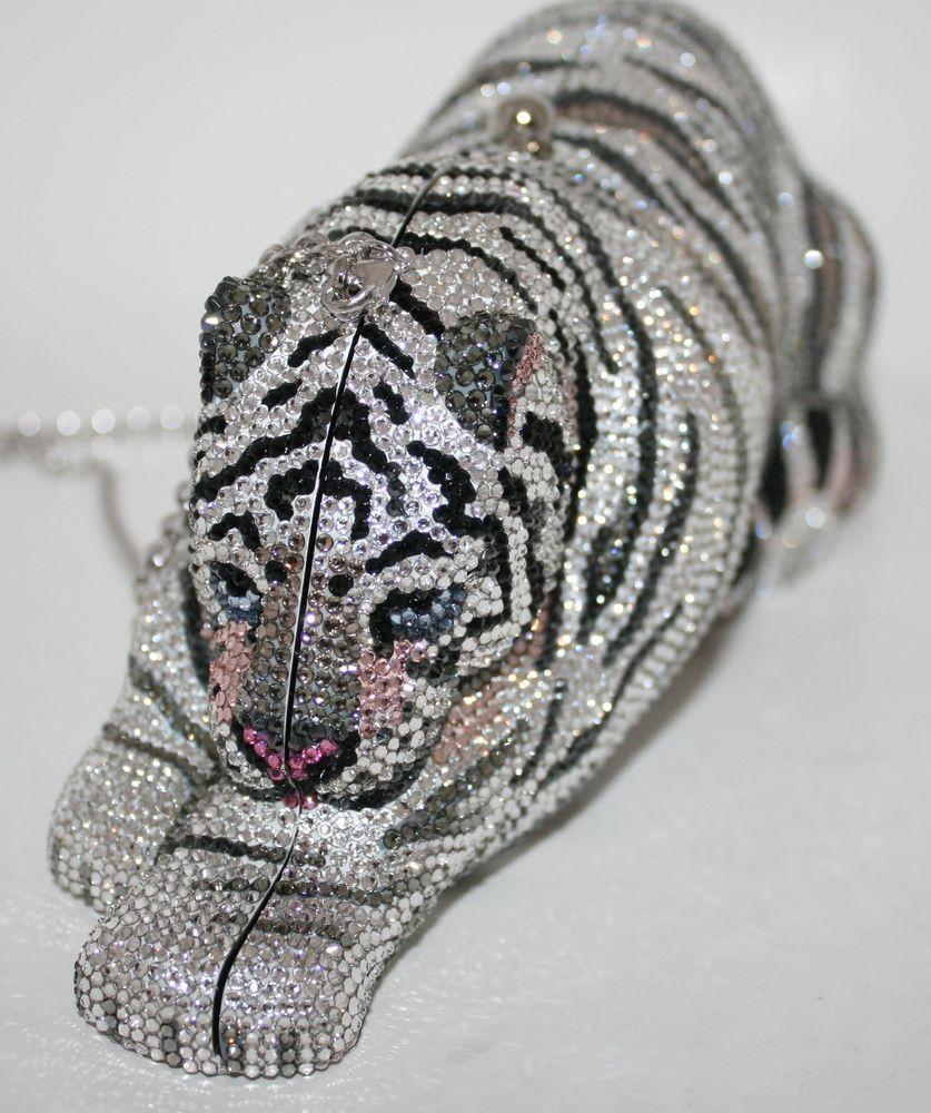 002889cf1409 $5,995.00 Judith Leiber Snow Leopard Wildcat Crystal Handbag Clutch Bag New  #JudithLeiber #EveningBag