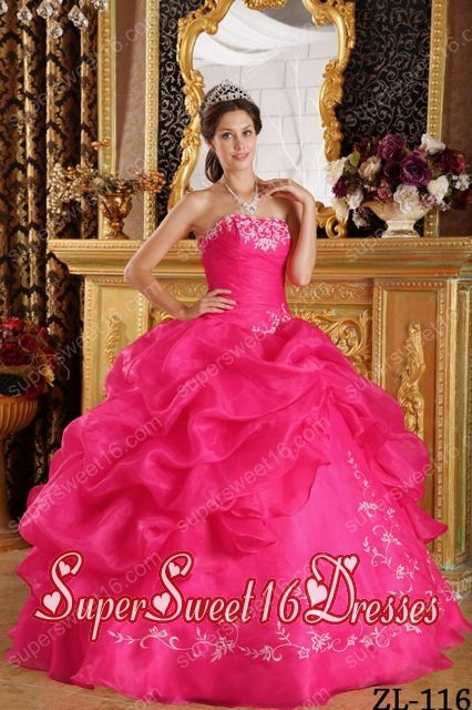 Ball Gown Strapless Embroidery Organza Custom Made Sweet 16 Dresses in Coral Red