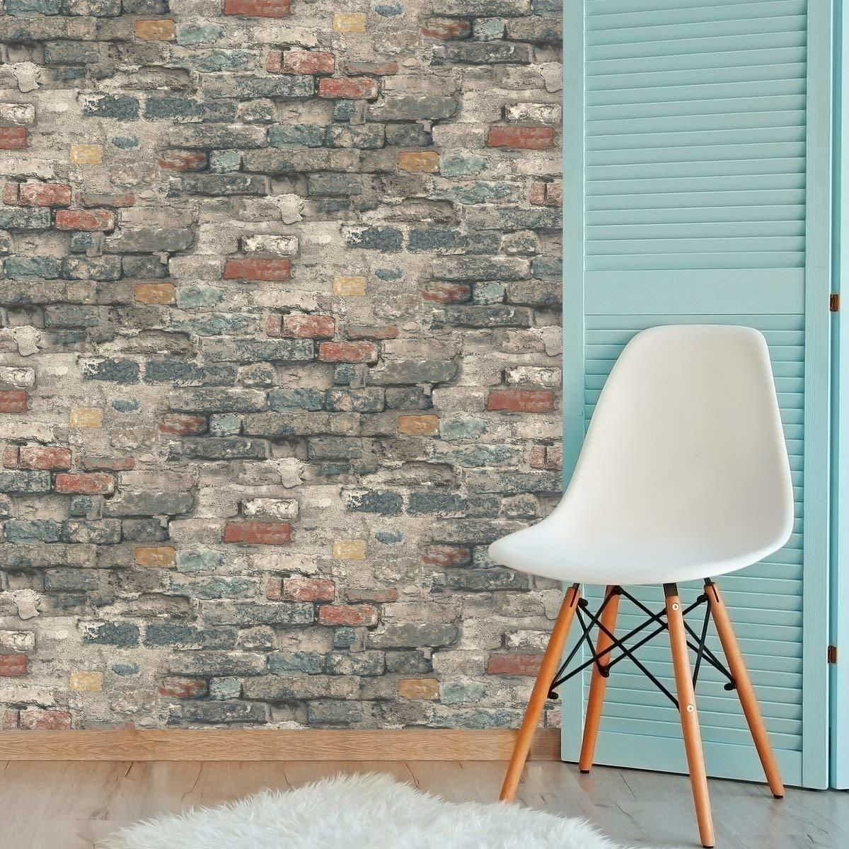 Roommates Rmk11080wp Brick Alley Peel Stick Wallpaper Teal Duvar