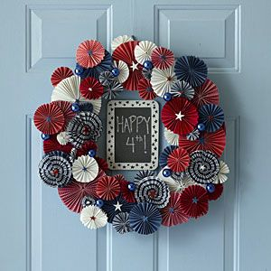 Fourth of July paper wreath. (Not weather resistant by any stretch, but what a cool design!