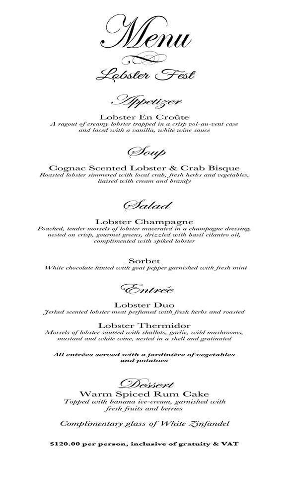 Have you seem our #LobsterFest menu for the month of October? Book Now 327-2161 #SapodillaEstate