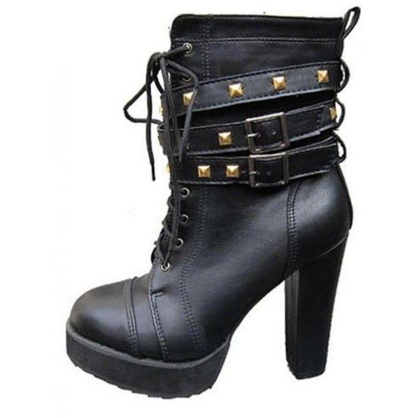 Black Leatherette Chunky Heel Mid Boots