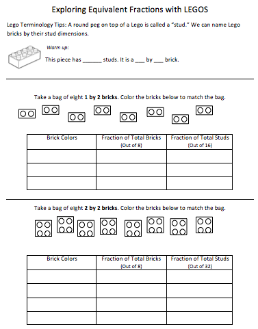 Equivalent Fractions with Legos