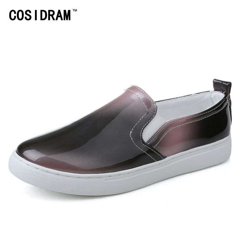 Women's Leather Platform Diamond Split Upper Hidden Heel Fashion Slip-On Sneakers Flats Shoes